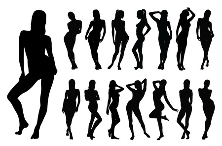 positions: Black silhouette of beautiful woman in different standing positions.