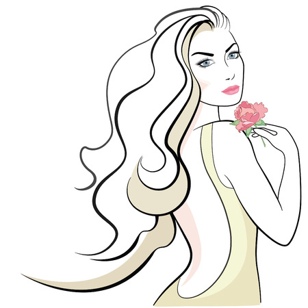 blond hair: Beautiful woman with long blond hair, blue eyes, pink lips and rose flower in her hand.