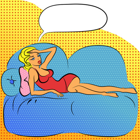 woman lying in bed: Beautiful woman laying on bed, with bubble for text. Illustration