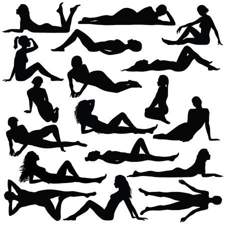 woman legs: Black silhouette of beautiful woman in bikini sitting and laying.