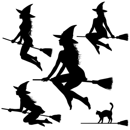 Silhouettes of young beautiful witch flying on broomstick. Helloween illustration. Vettoriali