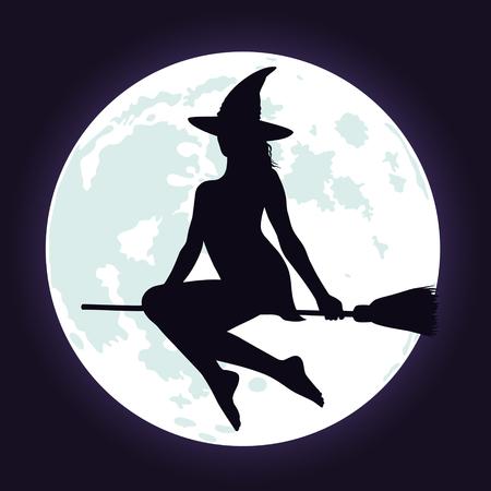 Silhouette di bellissima strega in cappello che vola sulla spazzola e sfondo luminoso azzurro luna piena. Illustrazione di Halloween. Archivio Fotografico - 62635062