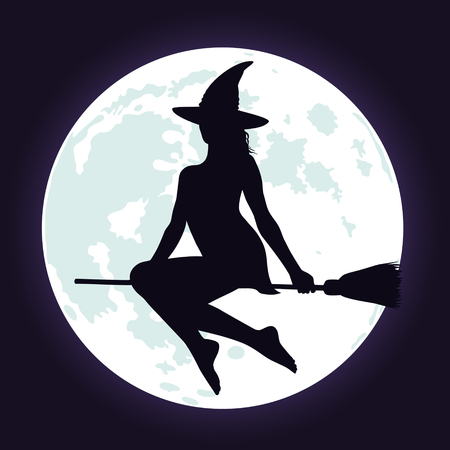 Silhouette of beautiful witch in hat flying on broomstick and bright blue full moon background. Halloween illustration.