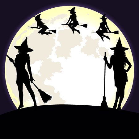 Halloween witches flying on broomstick and standing on the bright fool moon background.