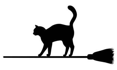 Silhouette of black cat flying on broomstick. Halloween illustration.