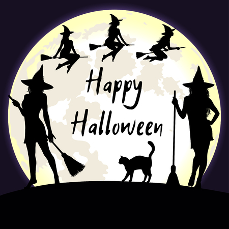 fool moon: Halloween background with bright fool moon and witches flying and standing with broomstick. Happy Halloween greeting card.