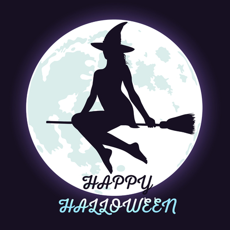 fool: Silhouette of Halloween witch flying in the dark sky, shining fool moon background and lettering Happy Halloween.