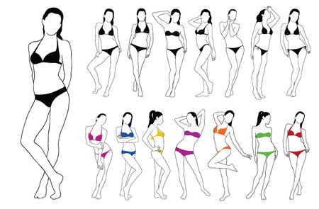 Set silhouettes of beautiful girls standing in colored bikini dress. Vector contour of slim woman body. Illustration