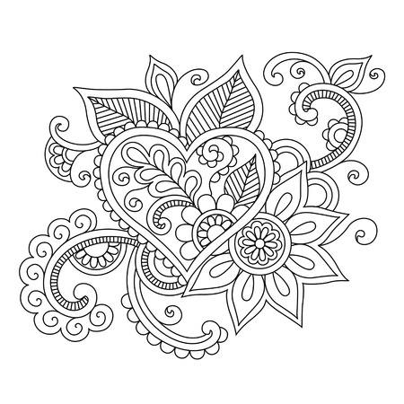 Floral ethnic doodle with heart pattern. Indian henna mehendi tattoo. Tribal illustration for coloring book. Stock Photo