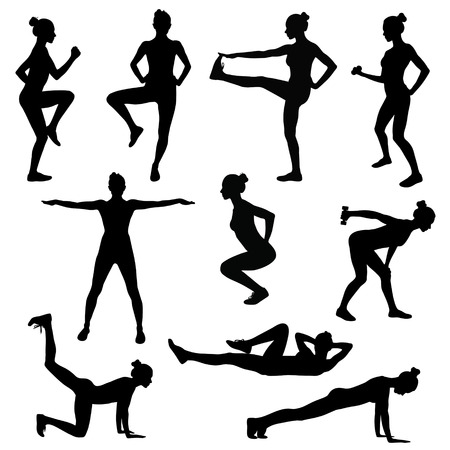 Shapes of slim sportive woman in different sport positions.