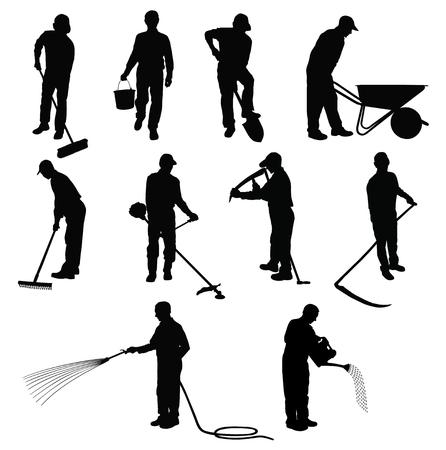 Siluetas de los hombres que trabajan en el jardín con diferentes instrumentos. Ilustración de vector