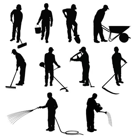 Silhouettes of men working in garden with different instruments.