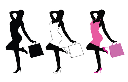 Femme, tenue, sac shopping, main Banque d'images - 88993361