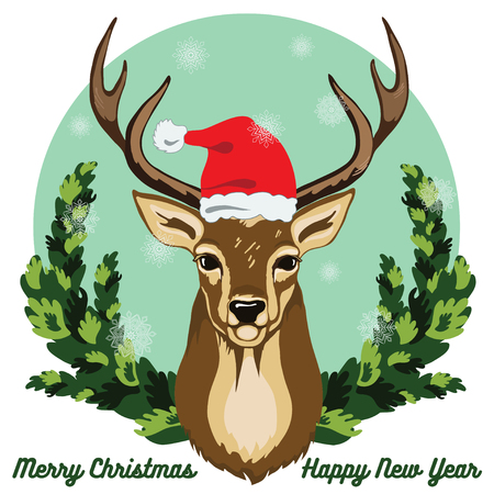 Merry Christmas and New Year greeting card, deer with Santa hat on his head, show flakes and fir tree branches background.