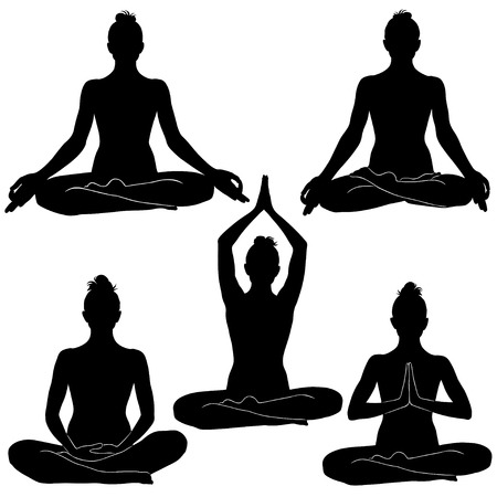 Silhouettes of woman sitting in meditation positions.