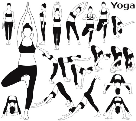 Silhouettes of woman stretching her body in yoga poses.