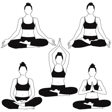 Silhouettes of woman sitting in meditation yoga pose.