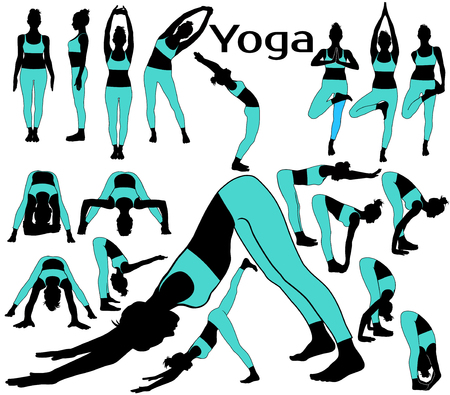 Vector silhouettes of girl in costume in different yoga poses. Illustration