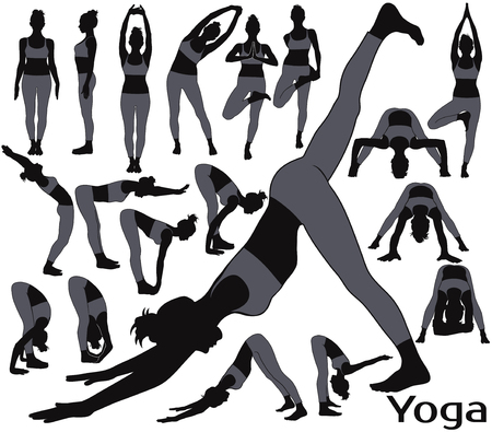 Silhouettes of woman in gray costume doing yoga.