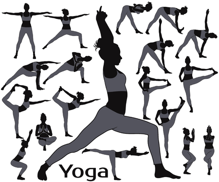 Silhouettes of slim woman practicing yoga exercises. Illustration
