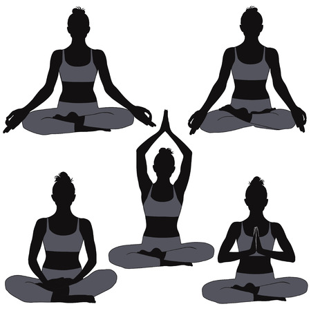 Set of silhouettes of woman in yoga poses for meditation. Shapes of girl practicing yoga isolated on white background. Illustration