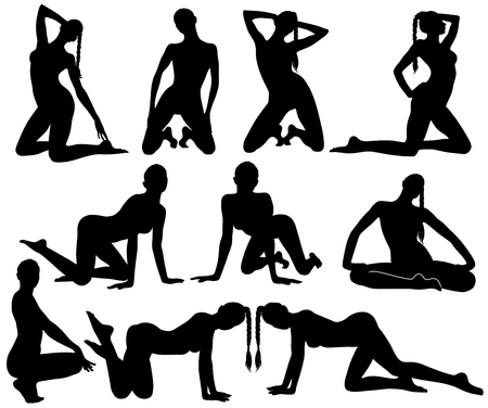 Silhouettes of slim sexy dancing woman. 일러스트