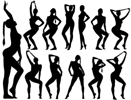 Silhouettes of pinup girls sitting in poses.