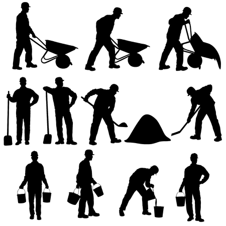 Set of silhouettes of worker with barrow, shovel and bucket. Icons of man working in different poses isolated. Illustration