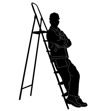 Silhouette of worker with stepladder. Illustration