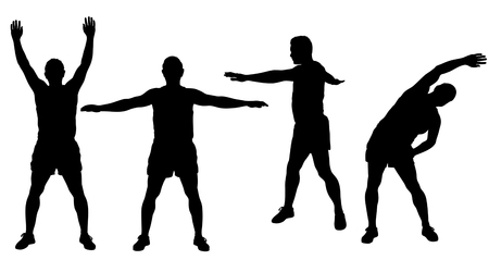 Silhouettes of sportive man stretching and worming up, workout it progress. Fitness boy icons isolated on white background. Vector Illustration