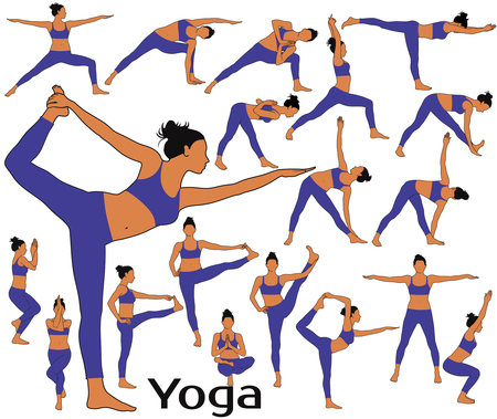 Silhouettes of woman with colored skin tone in costume doing yoga workout and fitness exercises. Illustration
