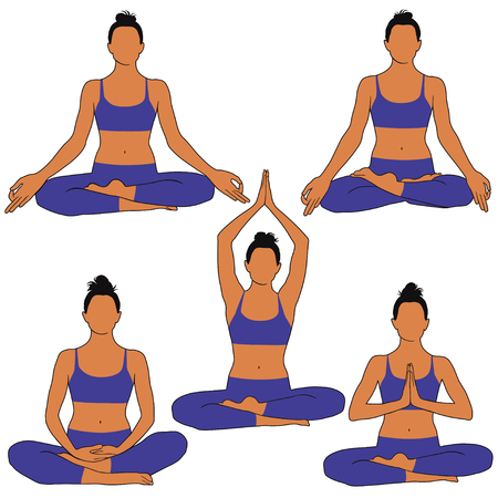 Set of colored silhouettes on woman practicing meditation in padmasana yoga pose with different position of arms. Illustration