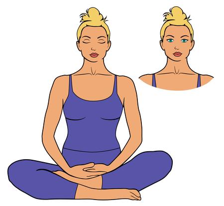 Illustration of woman meditating in sitting yoga pose. Icon of girl doing yoga meditation workout isolated on white background. Stock Photo