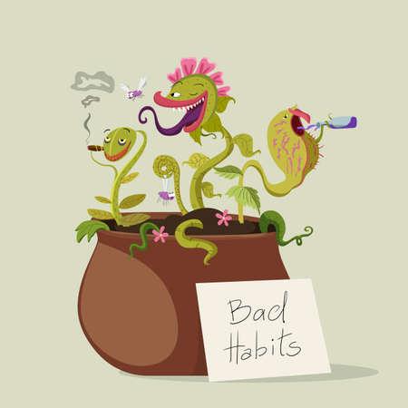 malos habitos: Las plantas de depredadores con los malos hábitos