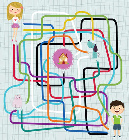 paths: Paths Finder Maze Game with Girl, Boy, Cat, Dog and House Illustration