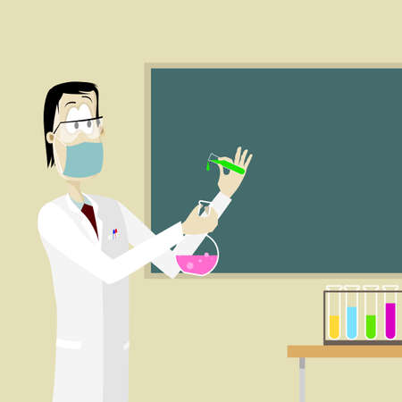 chemical experiment: Man doing chemical experiment Illustration