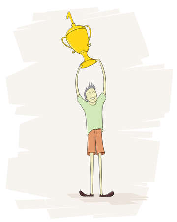 A cartoon illustration of a male holding upward a trophy award, First place Winner concept