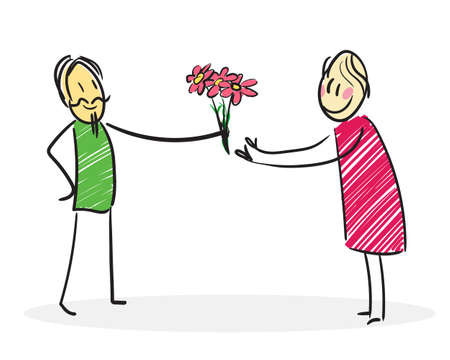 Man gives flowers to a woman, a stick line cartoon illustration