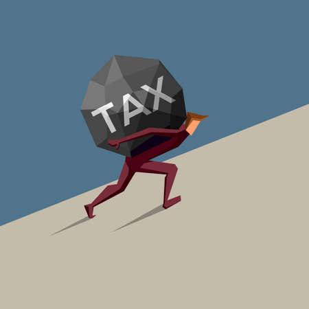 Businessman carries heavy tax uphill