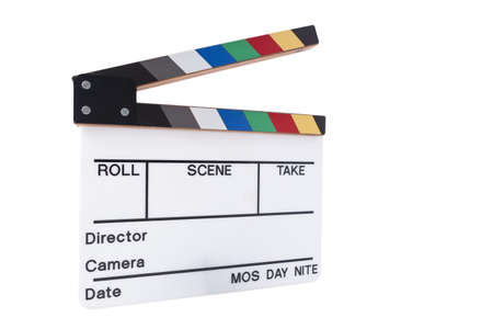 directors cut: a blank color movie clapperboard on a white background Stock Photo