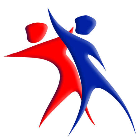 couple fight: A red & blue character dancing or giving a punch Stock Photo
