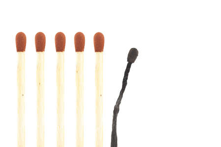 burned out: burnout visualisation thru matches isolated on a white background Stock Photo