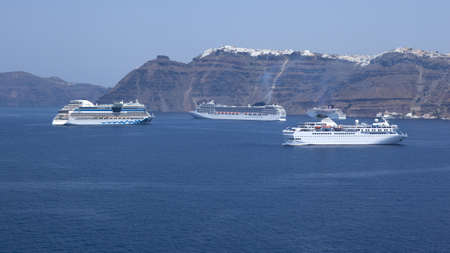 a  view from a cruiseship on Santorini Greecewith cruiseships Stock Photo - 11593467