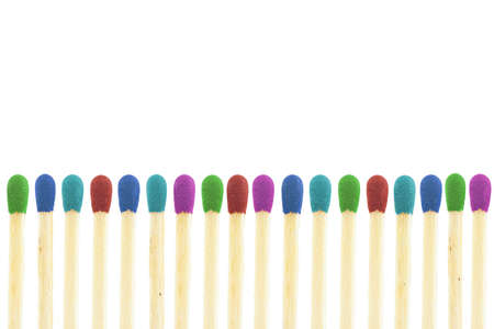 matchstick: burnout visualisation thru matches isolated on a white background Stock Photo