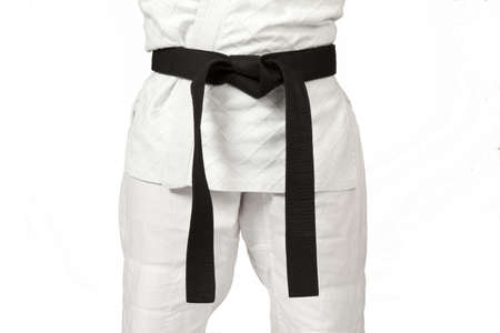 black belt: a judoka wearing a black belt Stock Photo