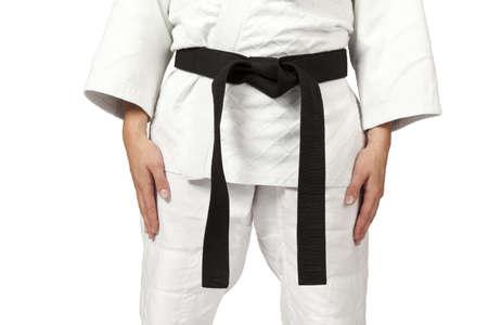judo: una mujer que llevaba un cintur�n negro aislado en blanco