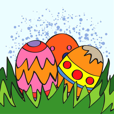 constructive: easter eggs in grass - vector illustration Illustration