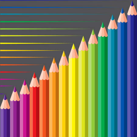 constructive: colored crayons - vector illustration
