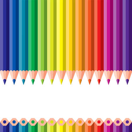 color effect: different colored pencils - vector illustration