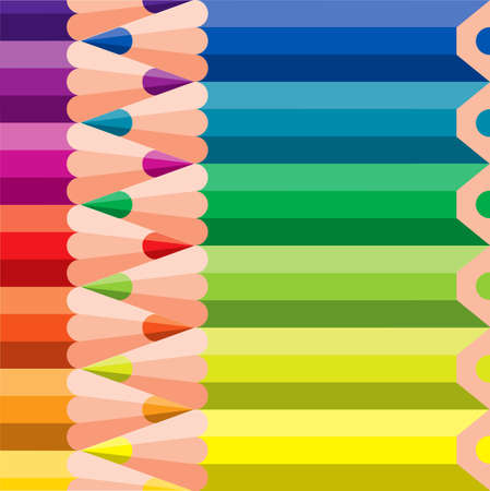 creative arts: various colored pencils - vector illustration